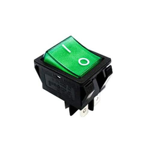 R5 ROCKER SWITCH GREEN ILLUMINATED CUSTOM PANEL MOUNT SWITCH RJS ELECTRONICS LTD.