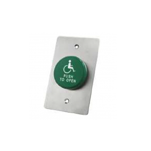 Door exit button, Panel mount, With plate, RJS electronics