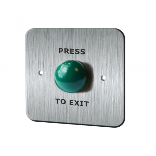 Door exit, push to exit, RJS-EX2, 19mm push to exit switch with metal panel in stainless steel or aluminium, thicknesses varies, green domed button. RJS Electronics Ltd