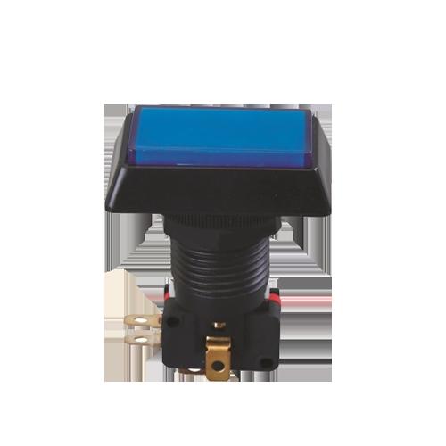 Rectangular gaming push button switch, led illuminated, rjs electronics ltd