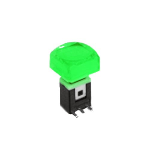 RJS-K2 15mm Push Button Switch Green illuminated push button with alternative caps, sigle, bi-colour LED illumination. RJS Electronics Ltd