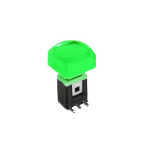 RJS-K2 15mm Push Button Switch Green illuminated push button with alternative caps, sigle, bi-colour LED illumination. RJS Electronics Ltd