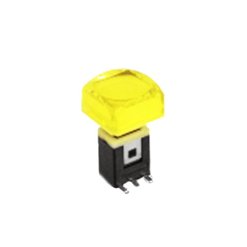RJS-K2 15mm Push Button Switch Yellow illuminated push button with alternative caps, sigle, bi-colour LED illumination. RJS Electronics Ltd.