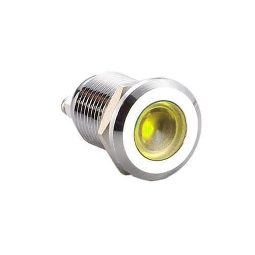 12mm metal dot LED illuminated indicator, flush, raised or domed head, Single, bi-colour or RGB LED options. Panel mounting style and IP67 rated. RJS Electronics Ltd