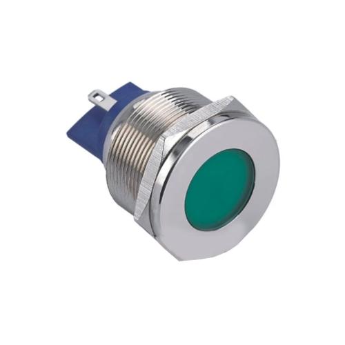 25mm metal LED indicator, domed or flat, LED indicator with a range LED options. Single, dual or RGB, IP67, IP68 rated. Panel mount, LED Indicator, RJS Electronics Ltd