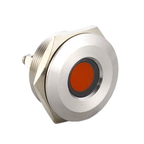 30mm metal LED indicators, available with a range of LED illumination options and IP67 Rated (front). Suited for a range of applications and industries.