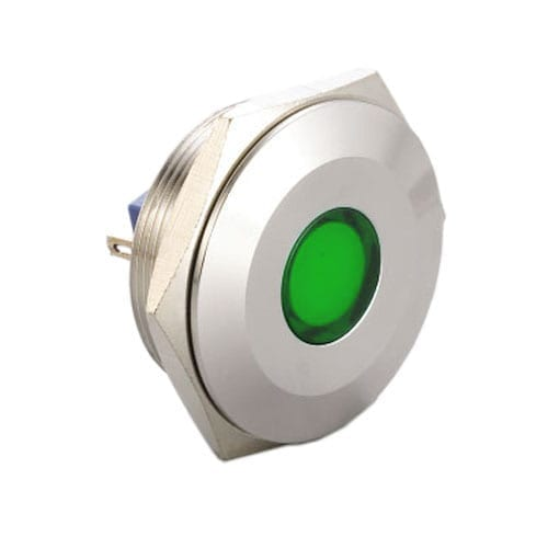 30mm metal LED indicators, available with a range of LED illumination options and IP67 Rated (front). Suited for a range of applications and industries.Panel Mount, LED indicator, 6mm/8mm/12mm/16mm/19mm/22mm/25mm/28mm/30mm indicators, with single, dual, RGB, Full LED illumination, with screw/PCB type/ solder lug terminals. IP67/IP68 Rated. RJS Electronics Ltd