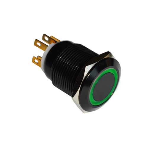 19mm anti vandal metal push button switches, led illuminated, ring illumination, black anodised finish, rjs electronics ltd