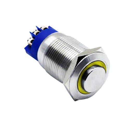 19mm anti vandal metal push button latching momentary high head ring LED illumination metal switch
