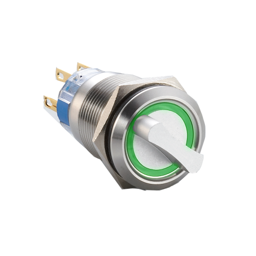 Ring LED-illuminated metal selector switch, available with 2 postions or 3 positions. SPDT/DPDT, non-illuminated, selector switch with ring LED illumination. Single, LED illumination available. IP65 / IP67J rated at the front. Stainless steel or annodised aluminium. Voltage varies. RJS Electronics Ltd.