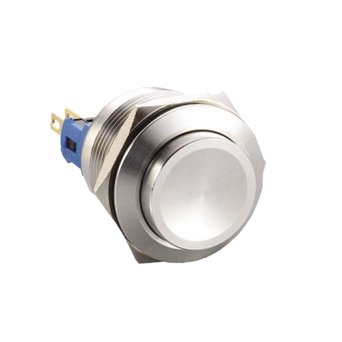 22mm metal anti vandal push button switch, high head with no illumination - rjs electronics ltd