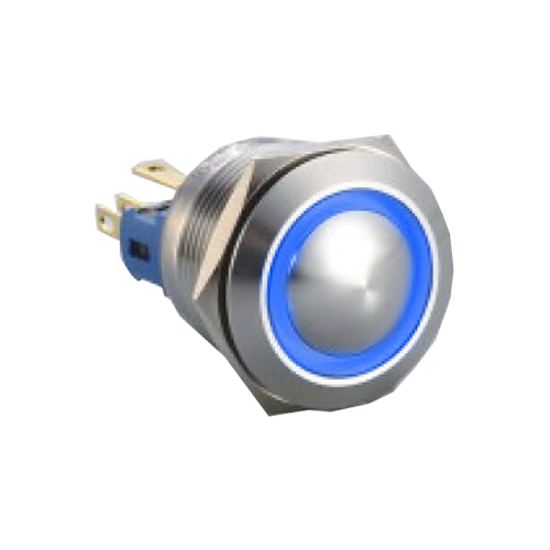 22mm Push Button, Ring head ball head push button metal switch, black aluminum and stainless steel with ring LED illumination. Red, Yellow, Green, Blue, White, Orange, RJS Electronics Ltd