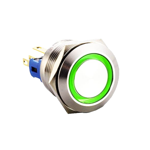 22mm metal anti vandal push button switch with ring led illumination, rjs electronics ltd