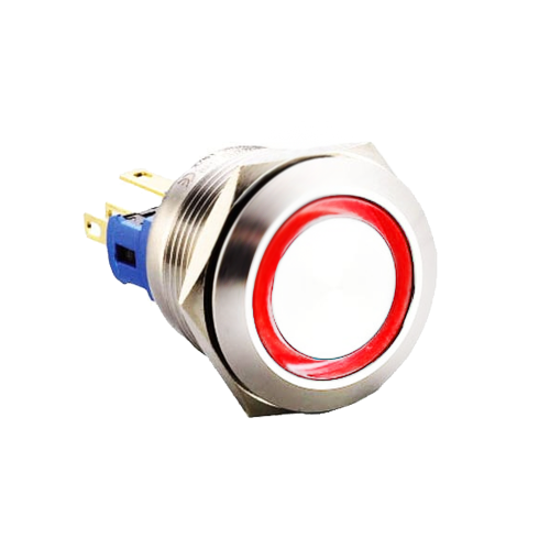 22mm metal push button switch with ring led illumination available at rjs electronics ltd