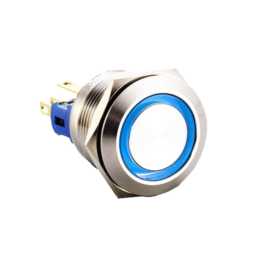 22mm metal anti vandal push button switch with led illumination available at rjs electronics ltd