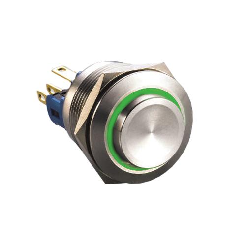 22mm metal push button switch,, ball head/ concave, LED ring Illumination, RJS Electronics Ltd