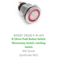 Panel Mount, RJS107-19L(A)-F-R~67J LED illumination, Single colour, BI-COLOUR, RGB LED ILLUMINATION, - RJS107-19L(A)-F-R~67J RJS ELECTRONICS LTD