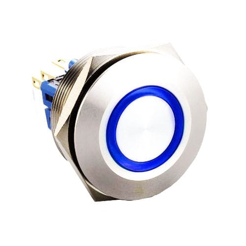 RJS(12)03-28L(A)-F-R-(LED)-(BSBLK)-(XV)-67J_BLUE,28mm push button metal switch