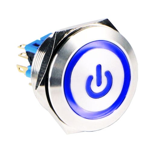 RJS(12)03-30L(A)-F-(CUSTOM)-(BLUE)-(BSBLK)-(XV)-67J, 30mm push button metal switch