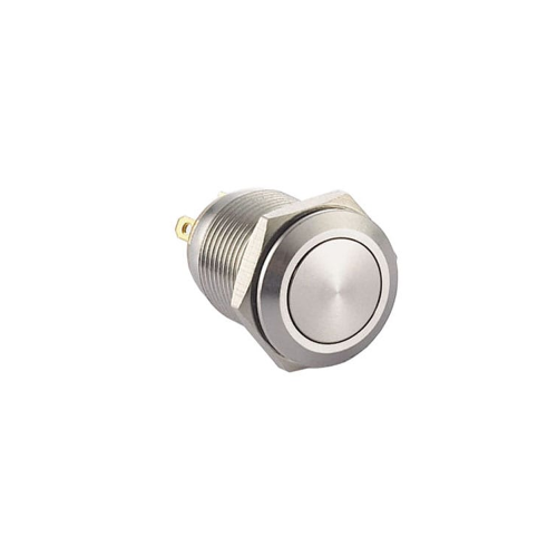 12mm push button switch without LED Illumination, Anti-vandal, Push button metal switches, flat head. RJS Electronics Ltd.