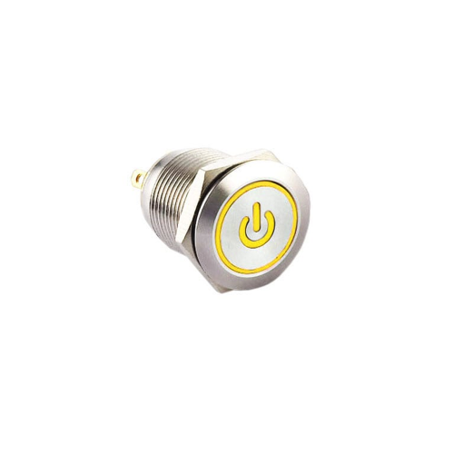 12mm push button switch with ring LED Illumination, Anti-vandal, Push button metal switches, switches with LED illumination, single LED Illumination, bi-colour LED illumination, RGB Illumination. RJS Electronics Ltd.