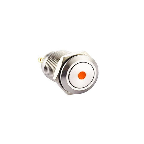 12mm push button switch with ring LED Illumination, Anti-vandal, Push button metal switches, switches with LED illumination, single LED Illumination, bi-colour LED illumination, RGB Illumination. Dot Illumination, flat head, RJS Electronics Ltd.