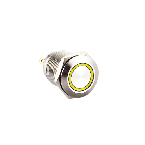 12mm Metal switches, RJS1N1-12L-F-R-(LED)-(BSBLK)-(XV)-67J - YELLOW, panel mount, push button switch with LED illumination, LED illuminated push button switch. Ring LED, single, dual and RGB LED illumination. Latching function. Momentary push button switch, momentary function, IP rated, RJS Electronics Ltd.