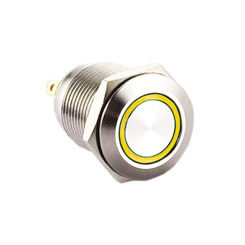 Metal switches, RJS1N1-12L-F-R-(LED)-(BSBLK)-(XV)-67J - YELLOW, panel mount, push button switch with LED illumination, LED illuminated push button switch. Ring LED, single, dual and RGB LED illumination. Latching function. RJS Electronics Ltd.