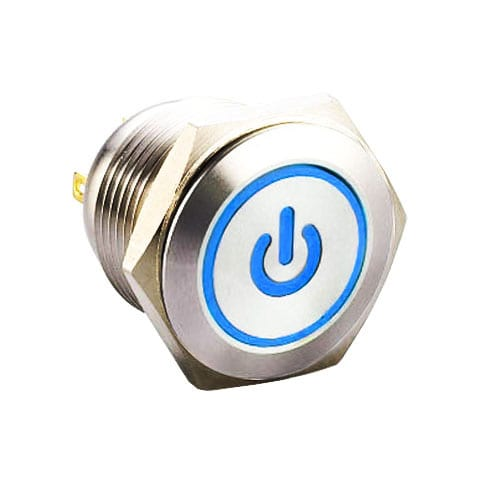 RJS1N1-19L-F-(CUSTOM)~67J, 19mm push button metal switch with LED illumination.