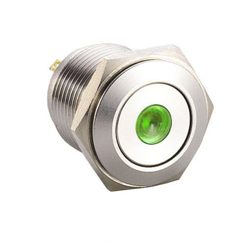 RJS1N1-19L-F-D-(G)-(BSBLK)-(XV)-67Jgreen flat head dot illumination push button metal switch