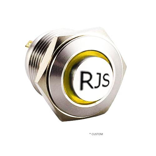 RJS1N1-19L-H-(CUSTOM)~67J, 19mm push button metal switch.