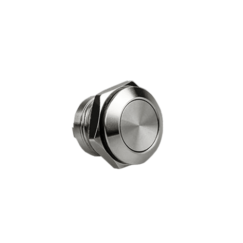 Metal anti vandal push button switch with low profile and LED illumination, available at rjs electronics ltd