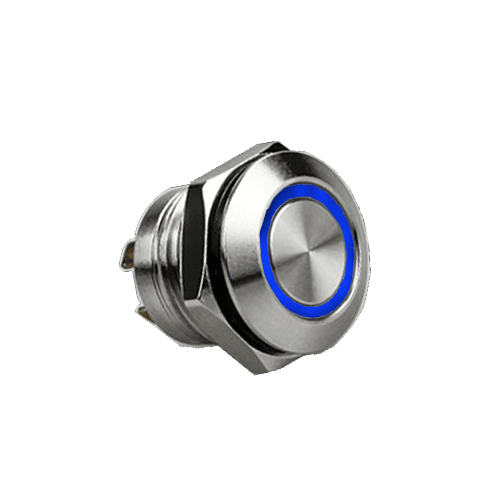 RJS1N1LP 12MM BLUE, SHORT BODY, PUSH BUTTON METAL SWITCH, LED RING ILLUMINATION