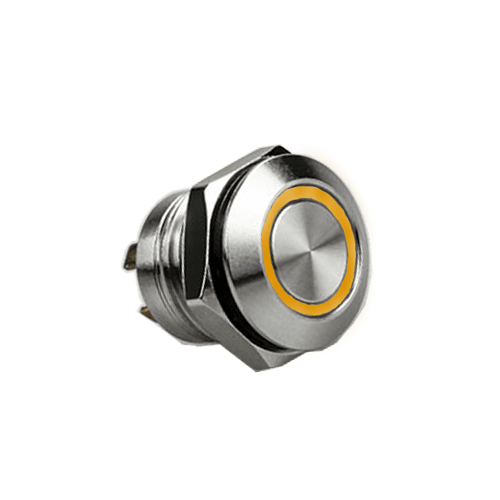 RJS1N1LP 12MM ORANGE AMBER, SHORT BODY, MICRO TRAVEL, PUSH BUTTON METAL SWITCH, LED RING ILLUMINATION