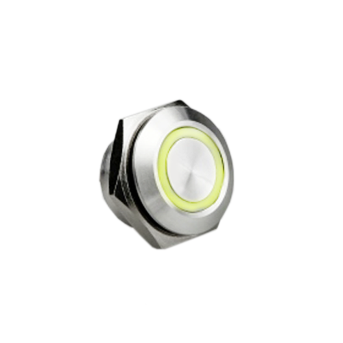 16mm low profile push button switch, anti vandal proof, led illuminated, rjs electronics ltd