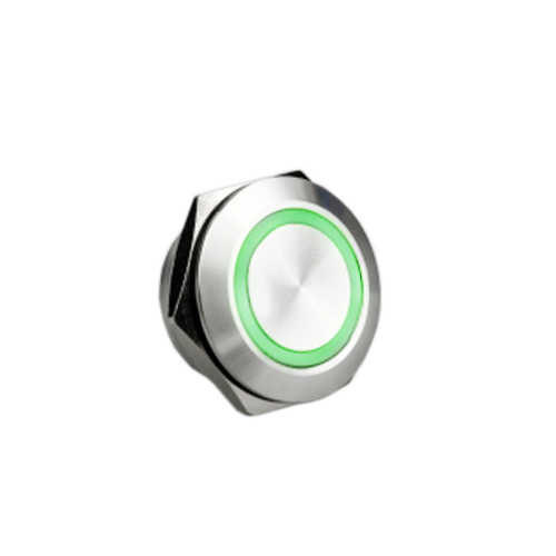 19mm Low profile metal anti vandal push button switch, led illuminated, rjs electronics ltd