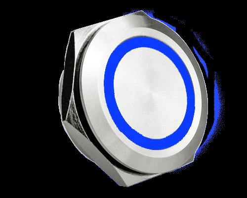 short body, micro travel, 25mm, push button metal switch, LED ring Illumination