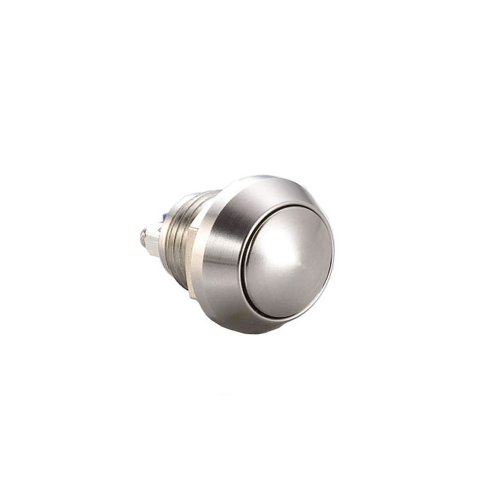 12mm momentary push button switch, screw terminals, IP65 rated. RJS Electronics Ltd
