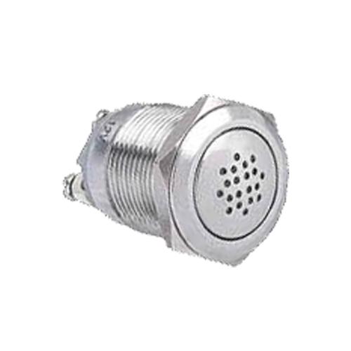 Panel mount, metal, brushed steel, buzzer, RJS Electronics Ltd, IP rated, with LED illumination, without LED illumination.
