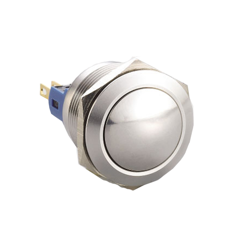 Metal Push Button, 22mm non-illuminated push button switch, available with SPDT / DPDT, ball head switch. IP65 rated, RJS Electronics Ltd