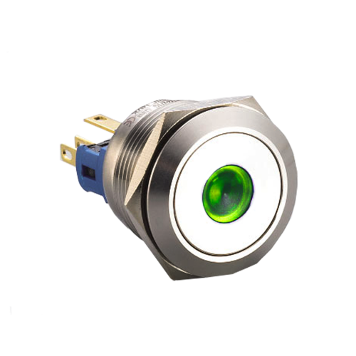 metal push button switch,, ball head/ concave, LED ring Illumination, RJS Electronics Ltd