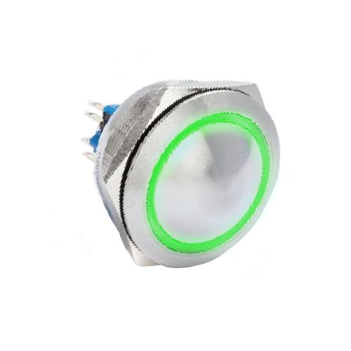 40mm metal push button switch,, ball head/ concave, LED ring Illumination, RJS Electronics Ltd