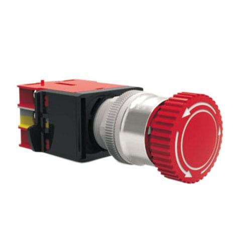 RJSAS22E Mushroom Emergency, panel mount, industrial control, mushroom emergency switch, without LED illumination. RJS Electronics Ltd.