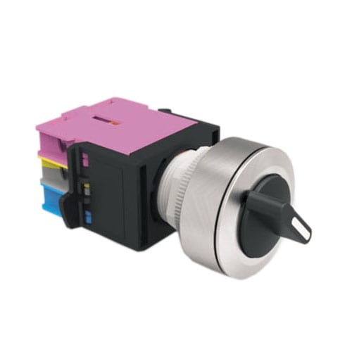 Panel Mount, round, 30mm selector switch with LED illumination and without LED illumination, supports custom etching. Single LED illumination, rotary function with momentary, maintained and latching function. Panel mount with terminal block, easy to install. RJS Electronics Ltd.