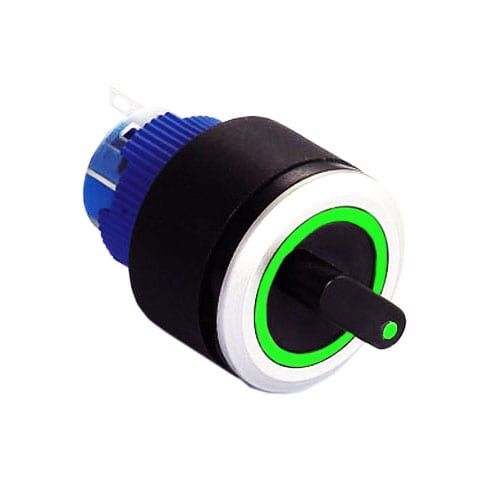 Round, RING LED Illuminated Selector Switch, Panel Mount, available with custom symbol. RJS Electronics Ltd.