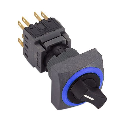 Selector Switches with Ring LED illumination, available in 2 and 3 positions at 90 degrees with single LED illumination, momentary function and maintained. RJS Electronics Ltd.