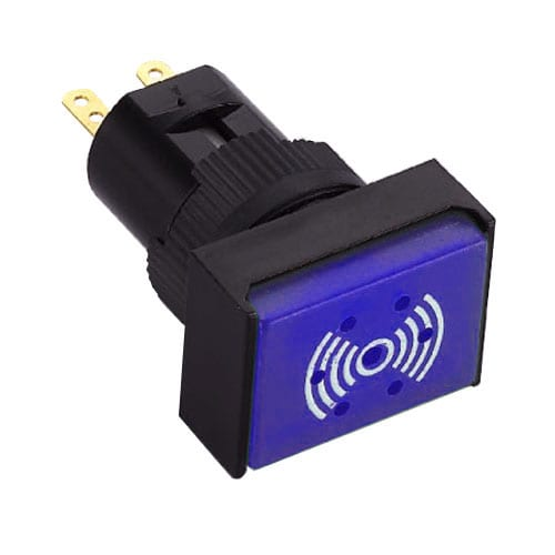 Illuminated, Panel Mount Buzzer Switch, plastic switch which makes a buzzer sound. RJS Electronics Ltd.