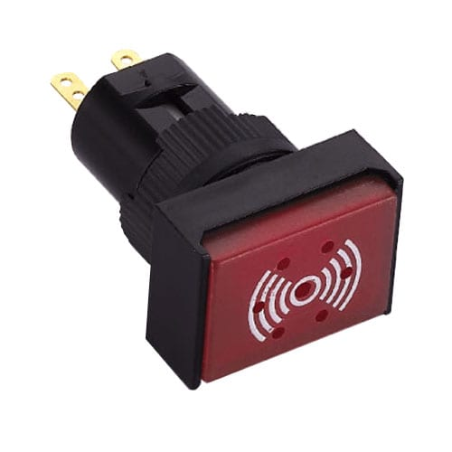 16mm RJSPS16A buzzer switch avilable with continious sound and red LED illumination. RJS Electronics Ltd