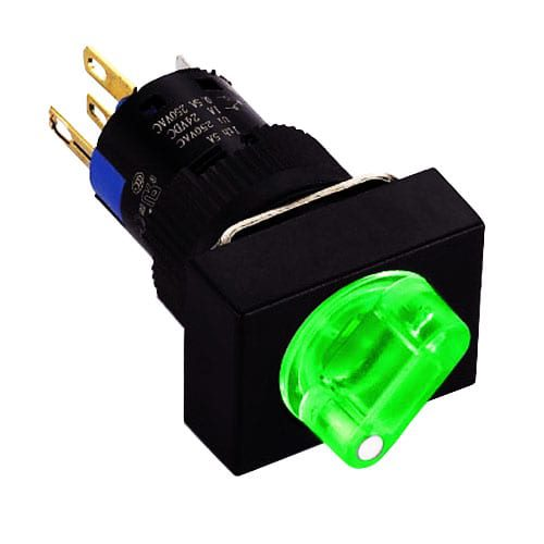 Panel mount, selector switch with LED illumination, supports custom etching or available without LED illumination. Square bezel with a rotary round selector switch, momentary, maintained or latching function, SPDT/DPDT, single LED illumination available in Red, Amber, Green, White, Blue or Yellow. RJS Electronics Ltd.