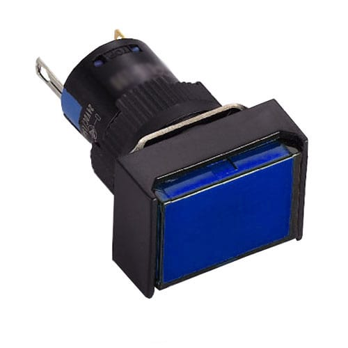 16mm, rectangular Plastic LED indicator switches. Plastic housing and LED indicator available in single LED illumination. Red, Green, Blue, Orange, White, Yellow, SPDT and Voltages. RJS Electronics Ltd